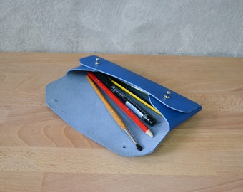 Blue leather pencil case