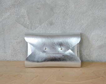 Silver leather mini clutch