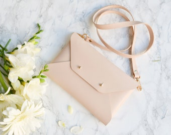 Nude leather clutch bag