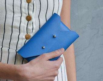 Blue leather mini clutch
