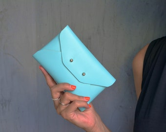 Turquoise leather mini clutch