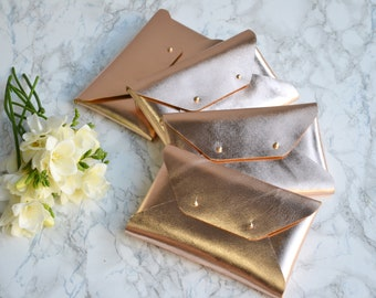 Bridesmaid gift set - Rose gold leather clutches - Set of 7-9 clutches