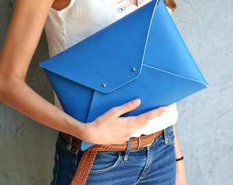 Blue leather clutch bag / Envelope clutch / Bright blue leather bag / Leather iPad case / Genuine leather / Leather bag
