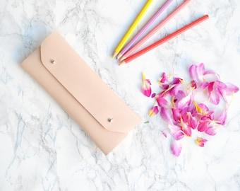 Nude leather pencil case