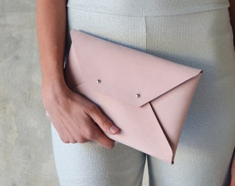 Light pink - nude leather clutch bag