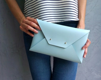 Light blue leather clutch bag / Envelope clutch / Leather bag available with wrist strap/ Genuine leather / Leather bag / Bridesmaids clutch