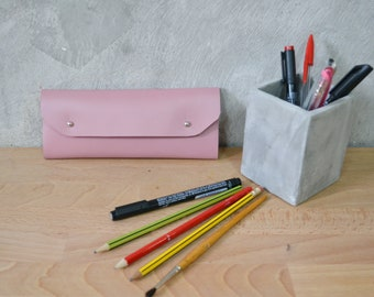 Dusty pink leather pencil case