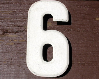 """Vintage Metal Numbers Industrial 7 1/2"""" Metal Salvage Marquee Channel Numbers 6 Or 9"""