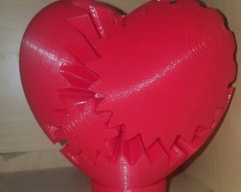 Mechanical Twisting Steampunk 3D Printed Gear Heart Engineering Geek Toy Valentines Gift 10x10x5cm with FREE stand