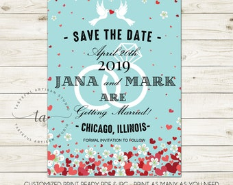b6ebdd40911a Romantic Tiffany Blue Art Deco Save The Date Wedding Announcement