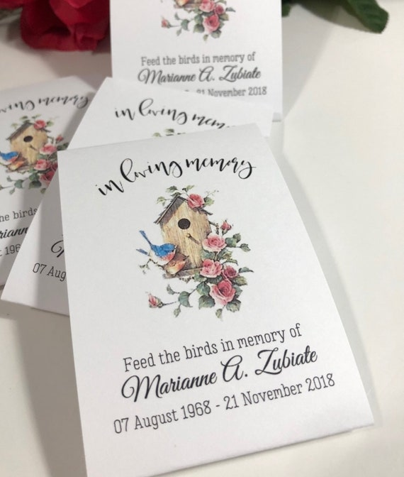 with seeds 118 Funeral Favour Personalised Seed Packets Memorial//remembrance