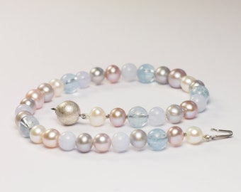 Aquamarine Pearls Calzedon Bracelet 925 Silver Recycled Ball Clasp Unique Jewelry Design hand made in Germany Anke Fischer