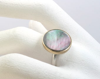 Ring mother of pearl gold 750 silver 925 jewelry design hand made in germany unique