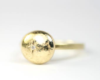 Ring Gold Nugget mit Brillant Gold 585 Unikat Schmuckdesign hand made in Germany