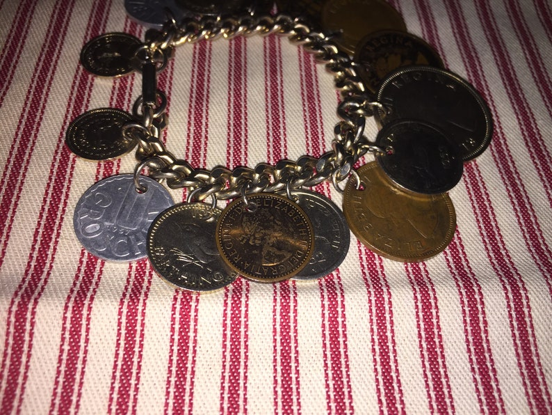 VINTAGE Coin Charm Bracelet