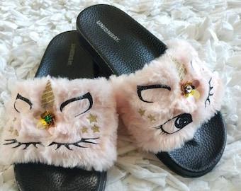 5cf36470d6a Pink Unicorn Slippers for Women  Women fur slides  Unicorn House shoes  Fur  slides  Pink slippers  Black Unicorn  Unicorn Gift  Unicorn