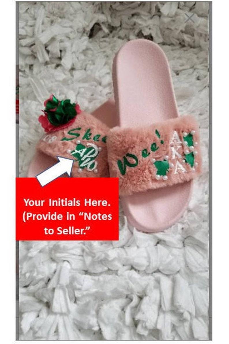 Alpha Kappa Alpha Shoes/ Alpha Kappa Alpha Paraphernalia/ Alpha Kappa Alpha  Sorority Clothing/ Custom Greek Apparel/ Fur Slides/ AKA Gifts