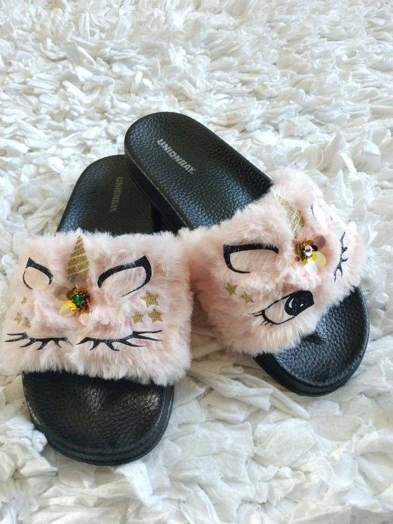 5d4c3a2ad0a Pink Unicorn Slippers for Women  Women fur slides  Unicorn