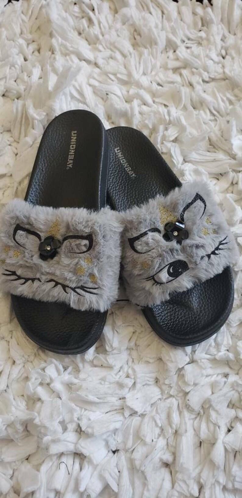 114cfa50a2ace Grey Unicorn Slippers/ Unicorn slippers/ Women fur slides/ Women house  shoes/ Black slippers/ Unicorn gifts/ Custom Fur shoes/ Unicorn Shoes
