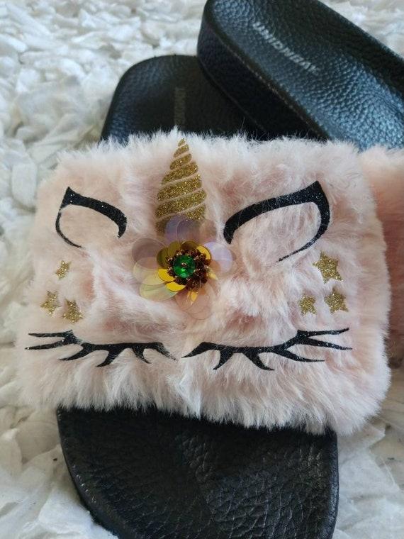 1b88e918dc67b Pink Unicorn Slippers for Women/ Women fur slides/ Unicorn House shoes/ Fur  slides/ Pink slippers/ Black Unicorn/ Unicorn Gift/ Unicorn