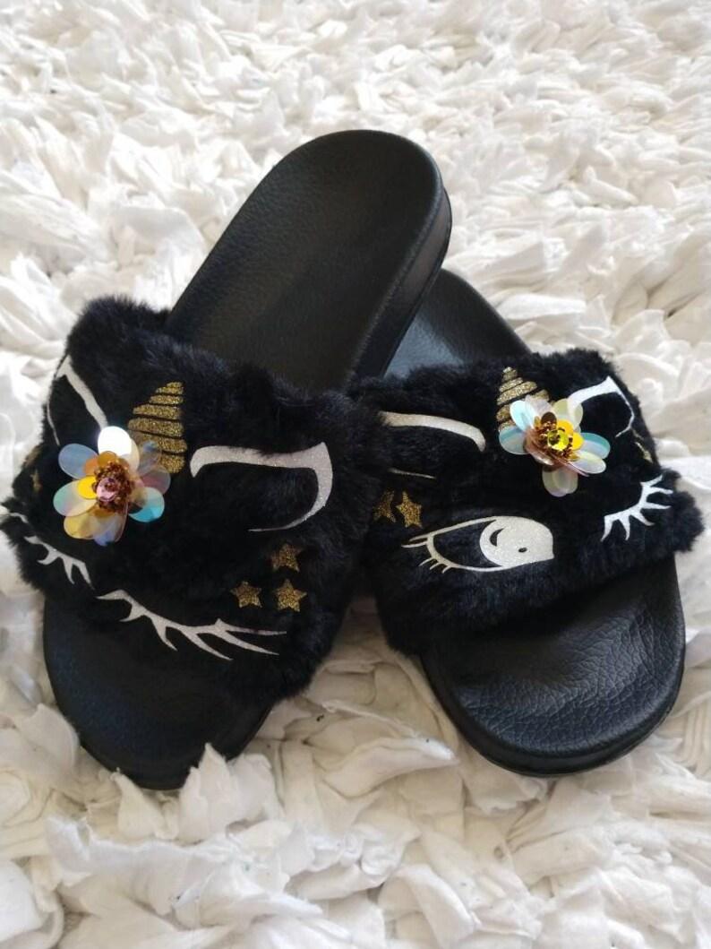 6558ceb811b30 Black Unicorn Slippers/ Unicorn slippers/ Kids fur slides/ Kids house  shoes/ Black slippers/ Unicorn gifts/ Fur shoes/ Unicorn Shoes