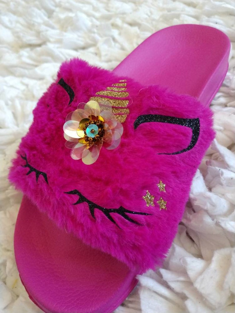 472f5e3b999 Dark Pink Unicorn Slippers  Fur slippers  Kids fur slides