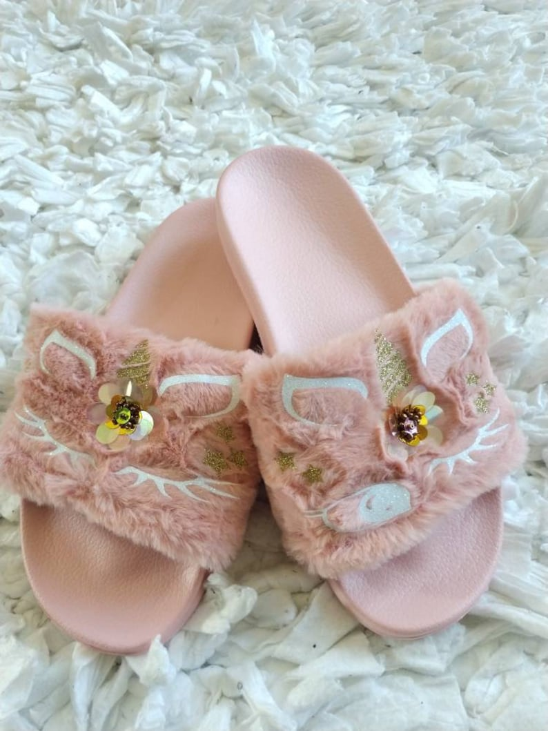 fe29464bc7a Light Pink Unicorn Slippers  Unicorn slippers  Kids fur