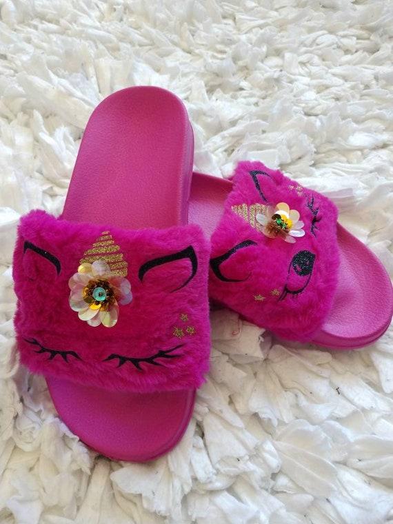 N\A Infant Baby Girls Boys Sandals Faux Fur Slippers Soft Slides Shoes