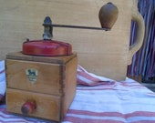 Antique French Peugot Freres Mechanical Coffee Grinder, Red Metal Lid and Hand Made Wood Case with Drawer