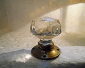 Vintage French Crystal and Brass Single Door knob, 1930s