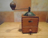 Antique French Manual Coffee Grinder, Green Metal Lid, Fully Functional
