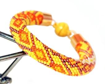 Orange Rhombuses Beaded Crochet Bracelet Summer Bracelet Geometric Bracelet Yellow Bead Crochet Jewelry Seed Bead Bracelet Gift For Girl
