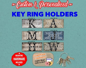 Personalized Key Holder, Key Ring Holder, Key Holder, Realtor Key Holder, Wall Key Rack, Housewarming Gift, Key Holder, Wood Pattern
