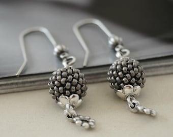 Long gray dangle earrings, Antique silver dangle earrings, Beaded bead dangle earrings, Delicate and feminine earrings, Round bead earrings