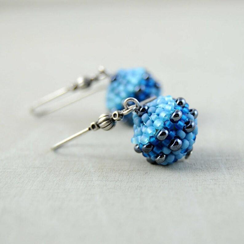 406fb7bdc341 Pendientes largos azules Pendientes azules Pendientes de
