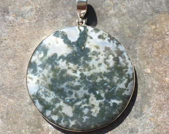 Moss agate and sterling pendant