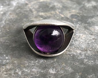 AAE Mexico mid-century modern sterling and purple stone ring