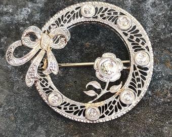 14k white gold and diamond pin pendant conversion