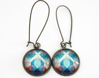 Dangle earrings, Long earrings, Cabochon 18mm, Glass cabochon earrings, Teal earrings, Turquoise earrings, Stainless steel, Colorfull