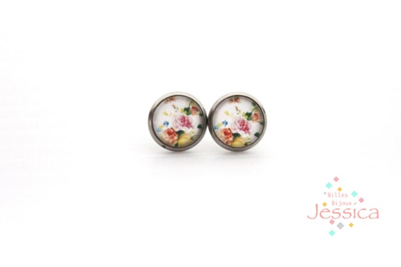 Flower Glass Stud Earrings 12mm Stud Earrings