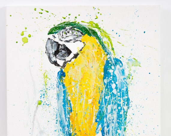 "Parrot No.1 - Original Painting on Stretched Canvas  61cm x 76cm  - 24"" x 30"""