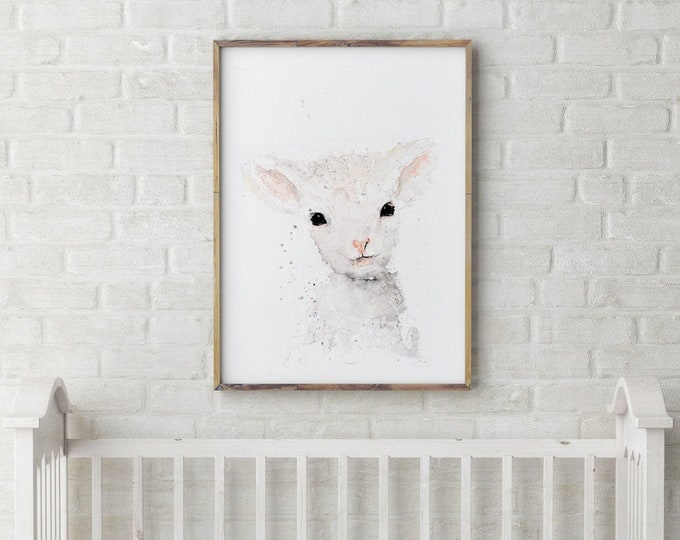 Mini Sheep Painting- Signed Limited Edition Print of my Original Water Colour Painting of a Baby Sheep or Lamb Wall Art