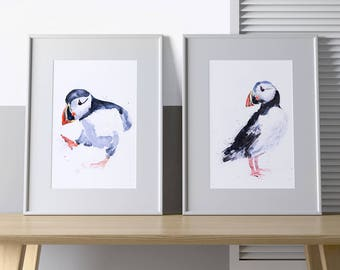 Puffin Watercolour Painting Signed Limited Edition Prints Home Decor House Warming Gift Puffins Sea Bird Abstract Wall Art British Wildlife