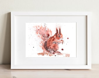 Squirrel Painting - Signed Limited Edition Print of my Original Water Colour Painting of a Red Squirrel - Red Squirrel Watercolour Painting