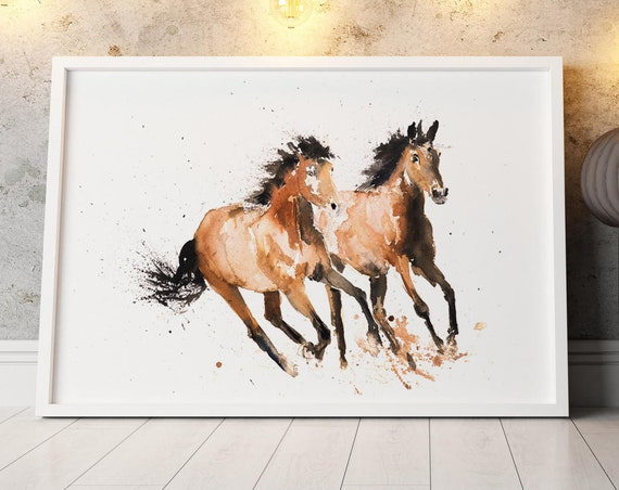 Horse Wall Art Watercolor Painting Watercolour Horse Painting Hand Signed Numbered Dated and Embossed Limited Edition Print of my Original
