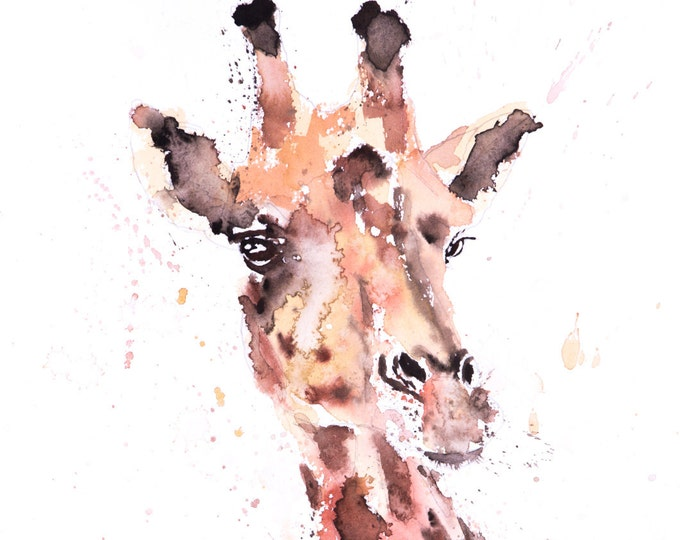 Giraffe Watercolor Painting Watercolour No.1 - Hand Signed Limited Edition Wall Art Print of my original watercolor painting of a Giraffe