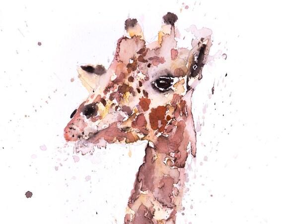 Giraffe No.2 - Signed Print of my original watercolour painting