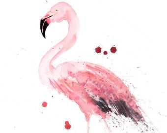 Flamingo Watercolour Print Limited Edition from my original Modern Abstract Watercolour Painting Home decor of Pink Bird Flamingos Wall Art