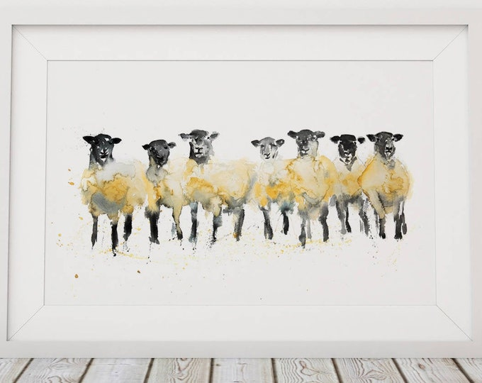 Sheep Painting Sheep Art - Hand Signed Limited Edition Sheep Print of my Original Sheep Watercolour Painting Sheep Wall Art