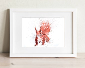 Squirrel Watercolor Watercolour Painting - Hand Signed limited Edition Print of my Original Water Colour Painting of a Red Squirrel Wall Art